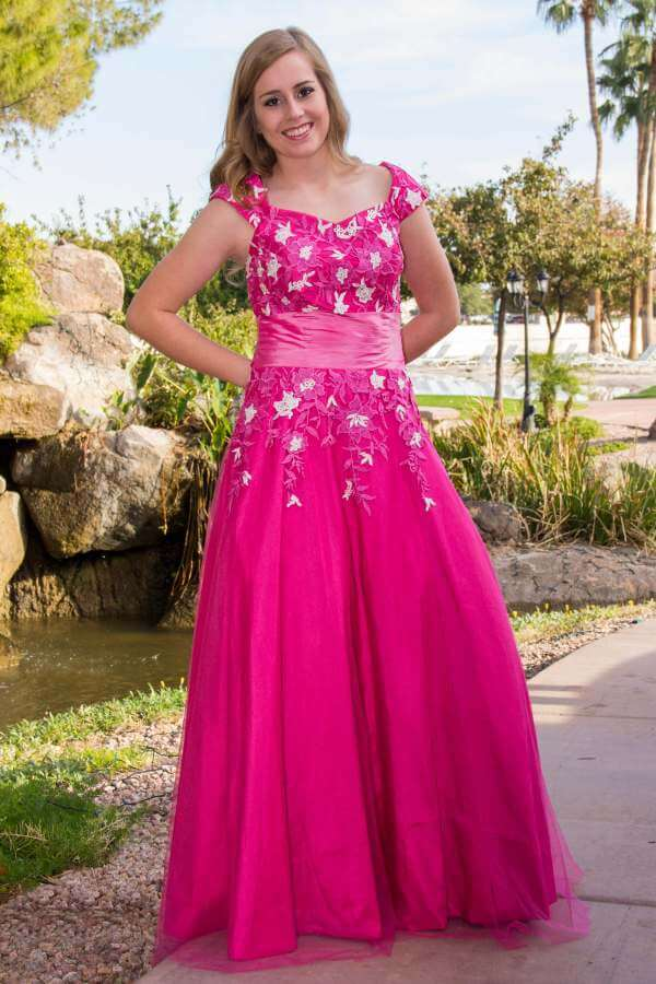 Calista Lace Modest Prom Dress with Sleeves