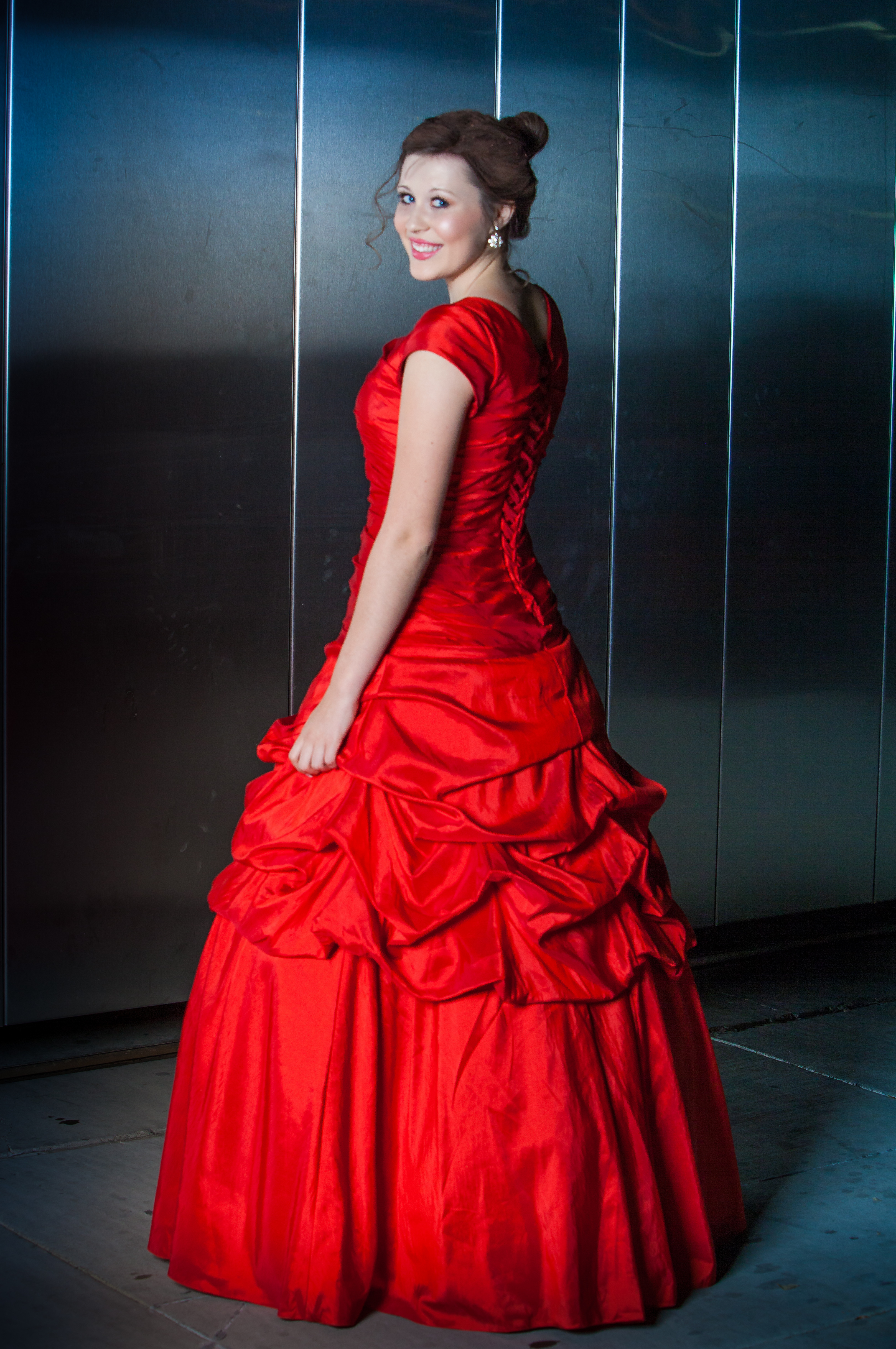 Katniss Red Modest Prom Dress With Sleeves