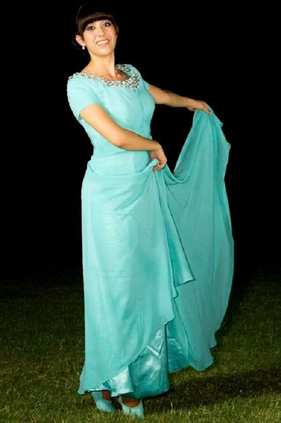Tiffany Blue Modest Prom Dress With Sleeves