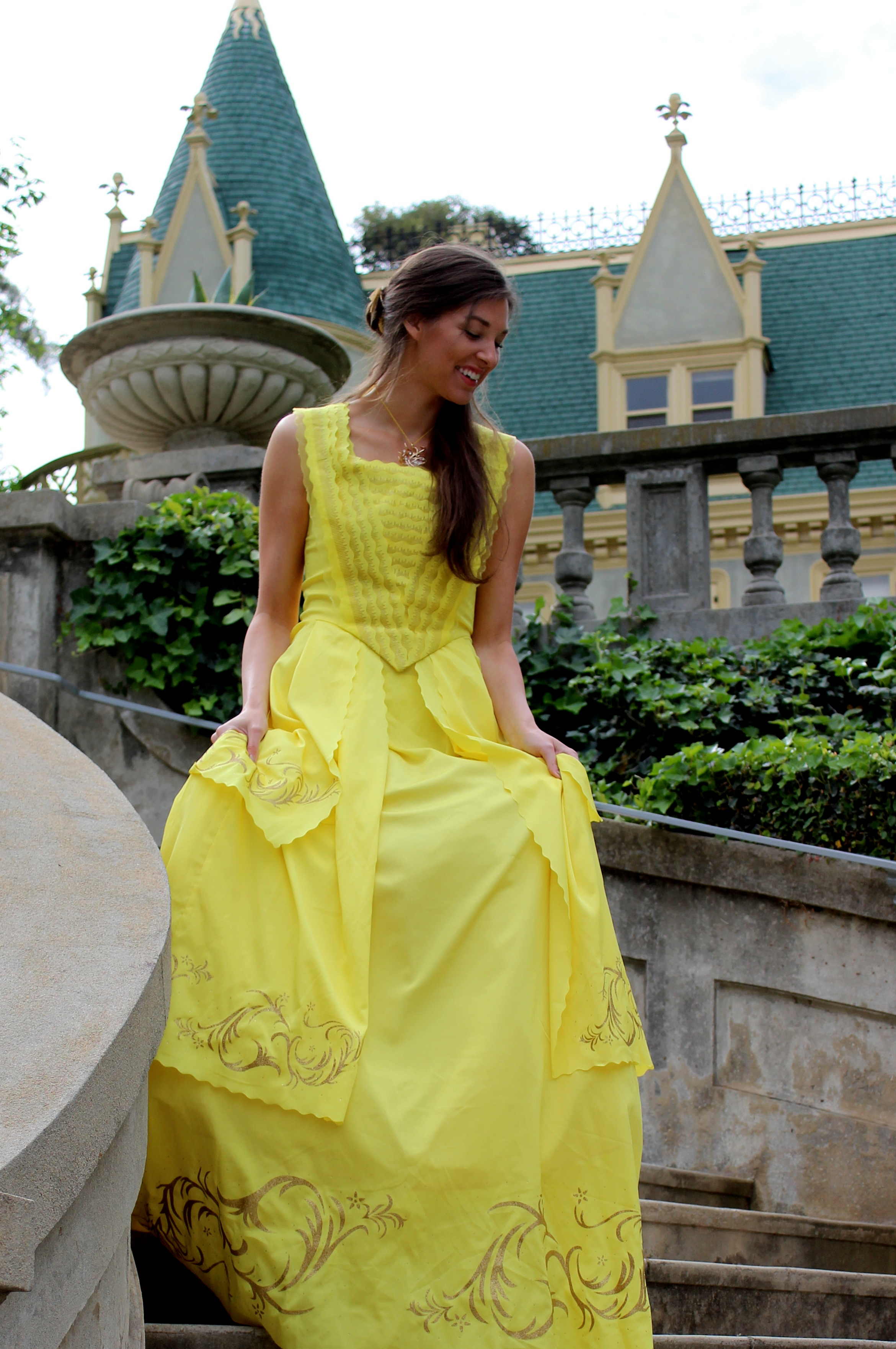 belle's 2017 gold yellow ballgown dress from beauty & the beast