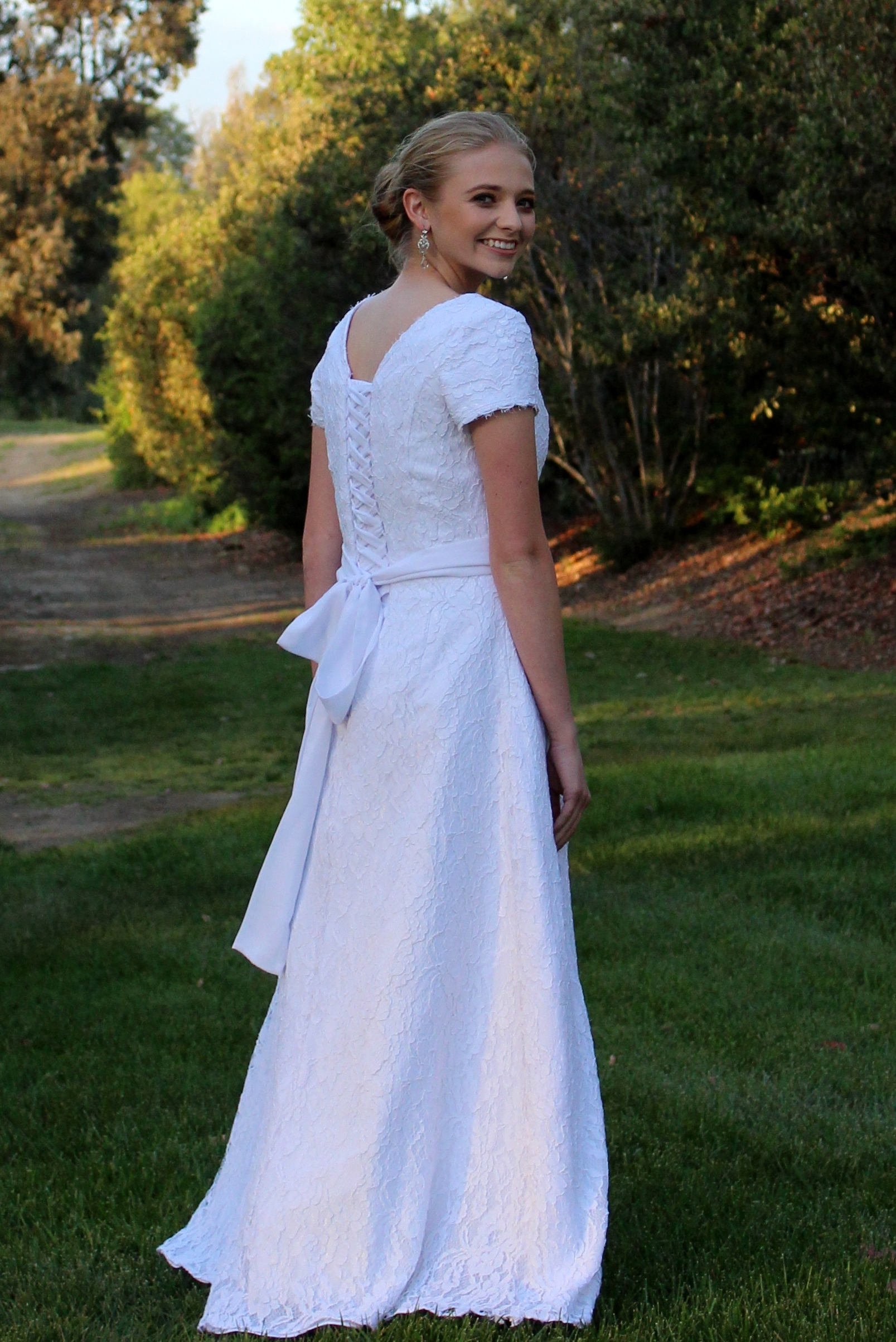 Kimberly White Lace Modest Wedding Dress with Sleeves