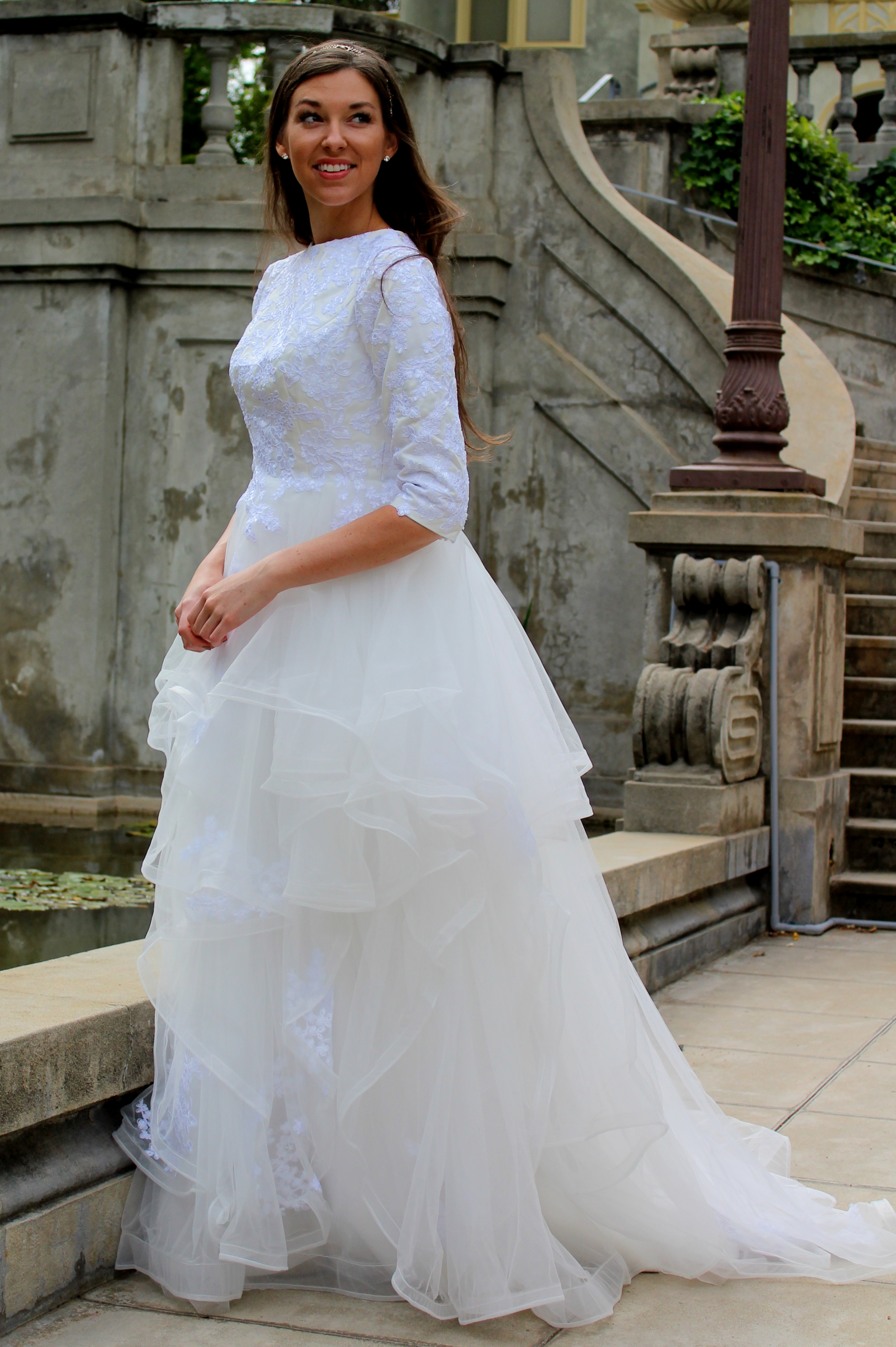 Alexandra Tznius Modest Wedding Dress with Sleeves