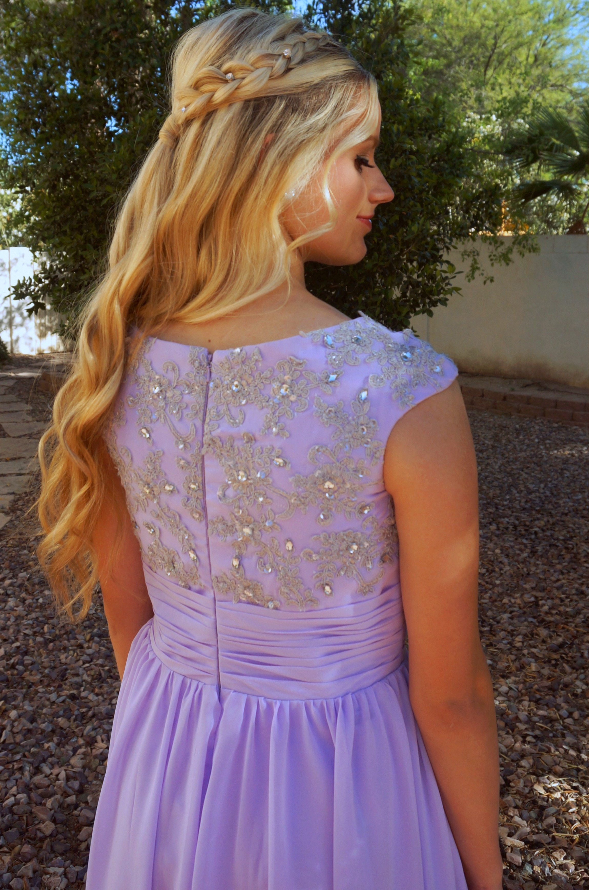 Emma Lilac Purple Modest Prom Dress with Sleeves