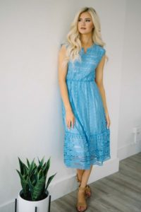 Turquoise Serena Lace Dress by Poppywells
