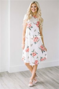 White Pink Floral Swing Dress Neesee's Dresses