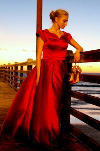 Clara Red Satin Modest Formal Prom Dress Petal Sleeves