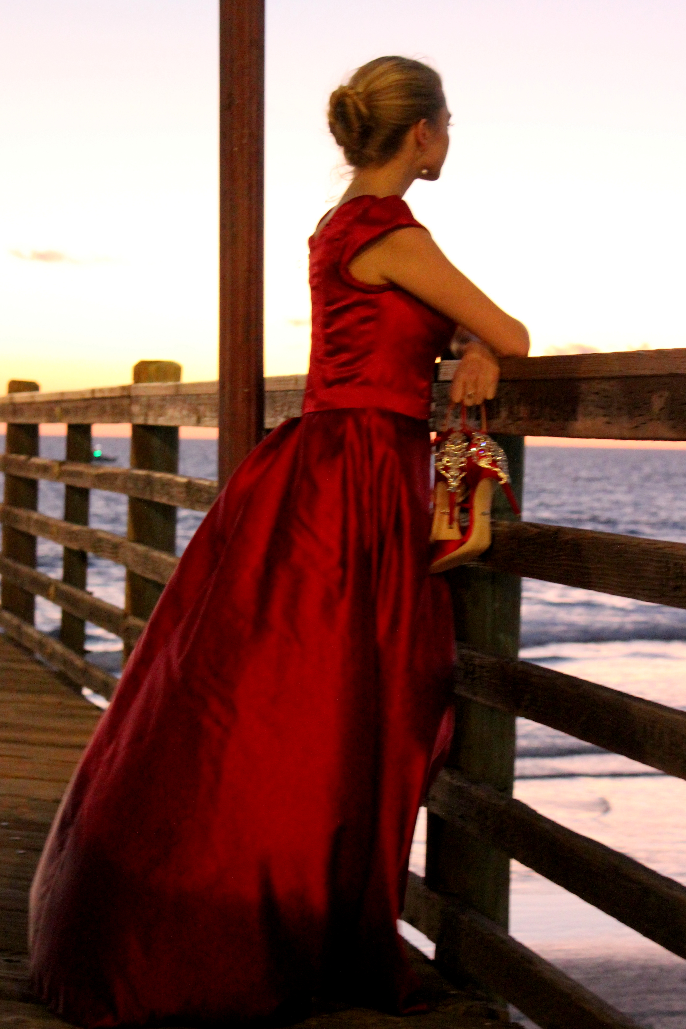 Clarissa Red Satin Modest Prom Dress With Sleeves