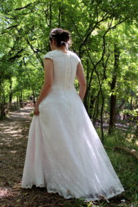 Rosalyn Modest Wedding Dress Sleeves Lace Up Back