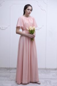 Flutter Sleeve Modest Chiffon Prom Dress